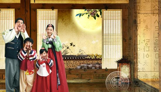 韩国传统民族家庭人物psd素材
