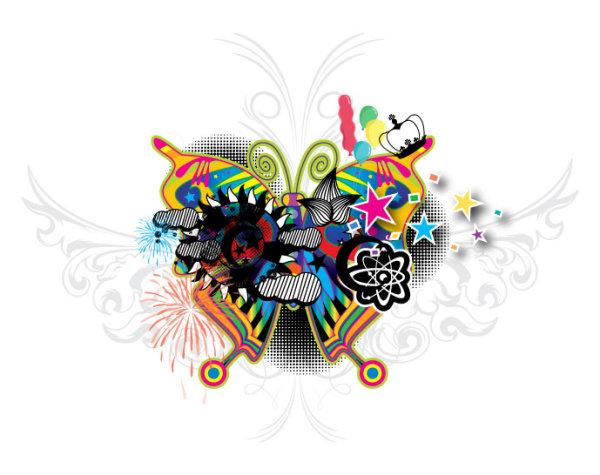 涂鸦,蝴蝶,翅膀,时尚,潮流,花纹,元素,矢量图,设计素材,ai格式