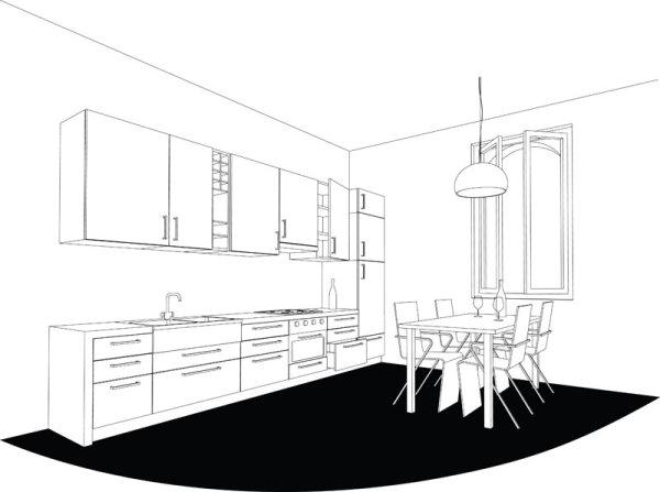 装饰,线稿图,厨房,碟子,碗,炉灶,椅子,桌子,吊灯,矢量图,设计素材,eps