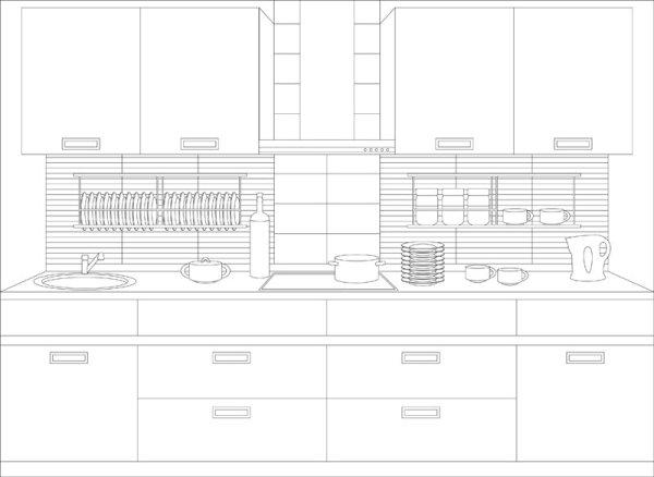室内,装饰,线稿图,厨房,碟子,碗,炉灶,矢量图,设计素材,eps格式