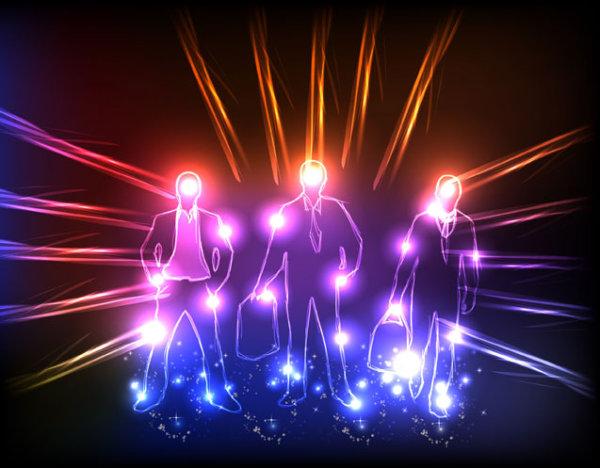 璀璨的霓虹灯特效矢量图3