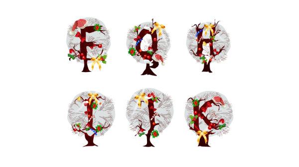 圣诞节,字母,树,袜子,雪花,花环,矢量图,设计素材,eps格式