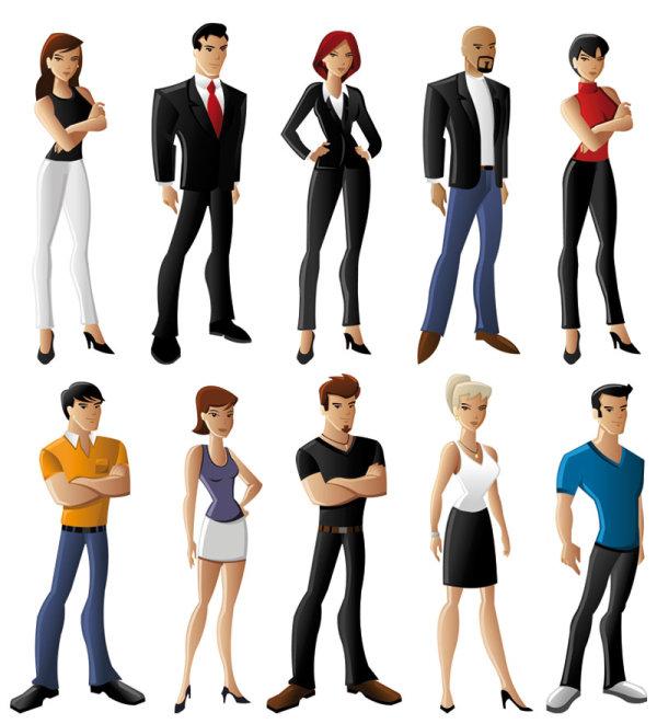 卡通,人物,白领,正装,商务人士,美女,男士,,矢量图,设计素材,eps格式