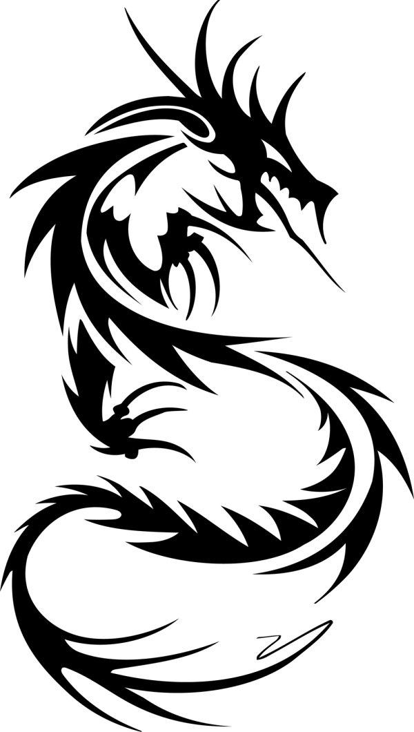 龙形,纹样,剪影,线条,图案,矢量图,设计素材,eps格式