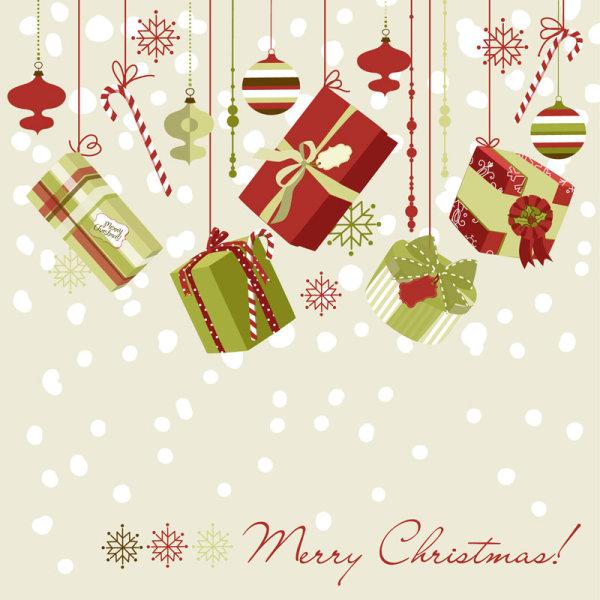 精美,圣诞节,礼盒,背景,彩球,雪花,纹样,矢量图,设计素材,eps格式
