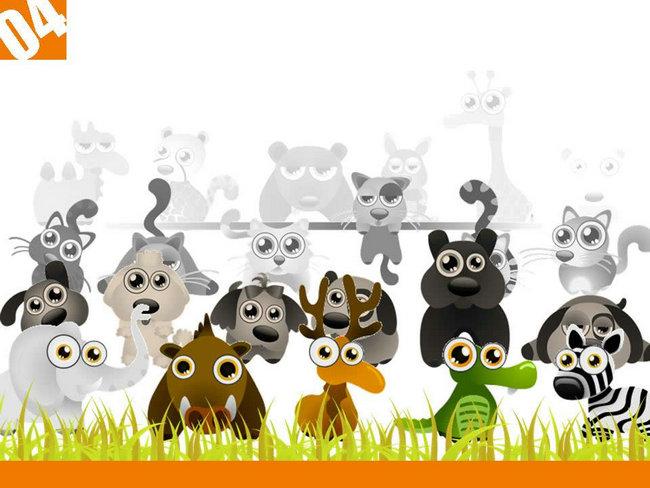 卡通动植物插画ppt模板,卡通插图ppt背景图片,可爱卡通ppt模板下载