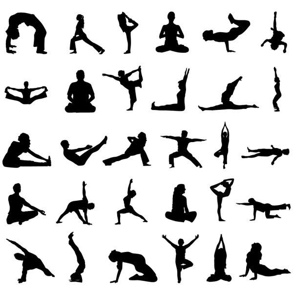 瑜伽动作剪影矢量图