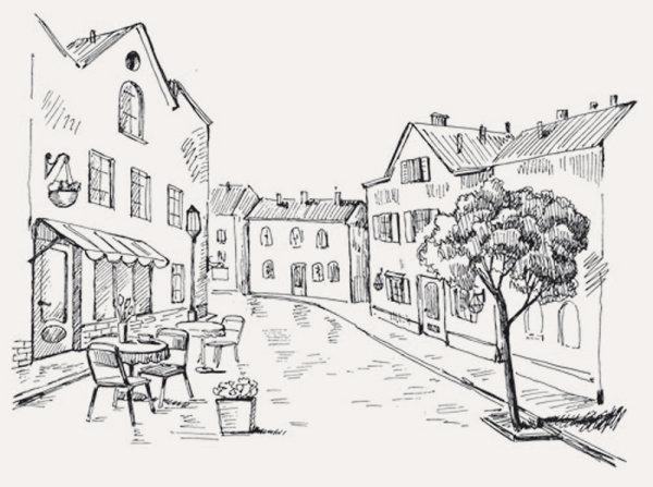欧式,建筑,场景,手绘稿,线条,街道,插画,速写,矢量图,设计素材,eps图片