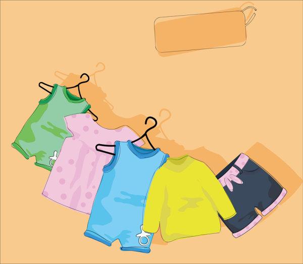 卡通,可爱,儿童,衣服,穿戴,服装,衣架,晾晒,矢量图,设计素材,eps格式