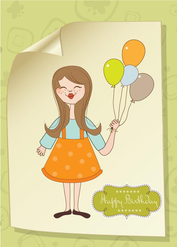 可爱,卡通,插画,小女孩,鲜艳,矢量图,气球,线稿,线条,卷角,设计素材