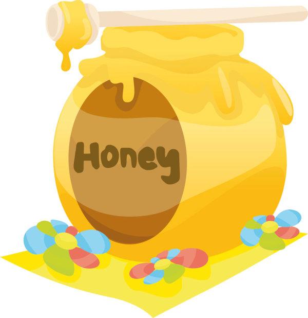 可爱卡通小熊和蜂蜜矢量图3