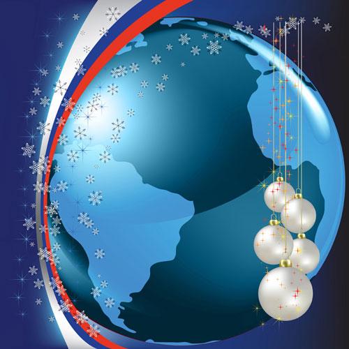 圣诞节,背景,彩球,地球,雪花,星光,吊球,矢量图,设计素材,eps格式
