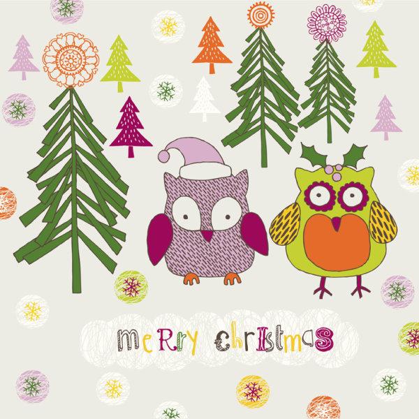 卡通,圣诞节,猫头鹰,图案,圣诞帽,雪花,红果,动物,动画形象,卡通圣诞