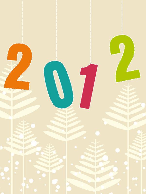 2012,数字,插画,卡通,可爱,背景,矢量图,剪影,松树,植物,雪花,设计