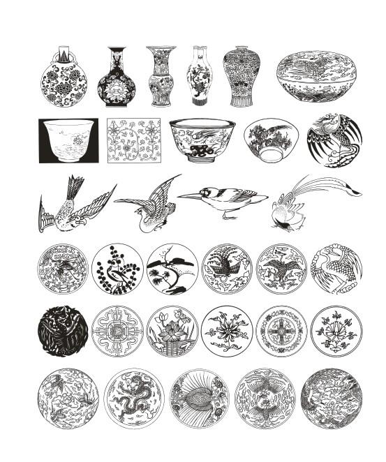 古纹样,花边,花纹,回旋纹,海水文,瓷器花纹,窗花,万字,莲花,树叶,凤凰