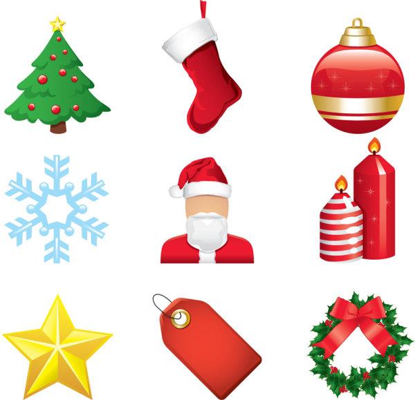圣诞节,卡通,圣诞树,圣诞袜,彩球,圣诞老人,雪花,蜡烛,节庆,星星,标签