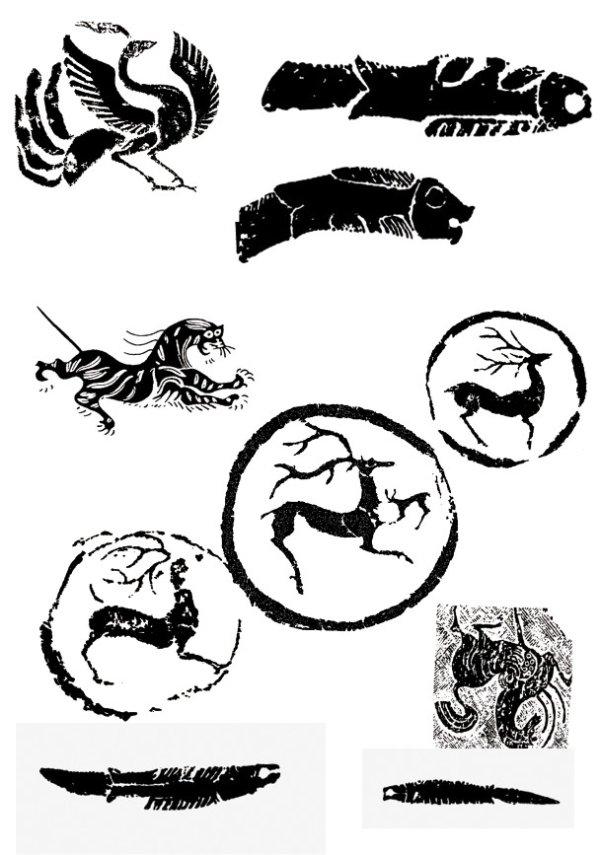 神兽拓印04矢量图-矢量图案素材-矢量素材-素彩网