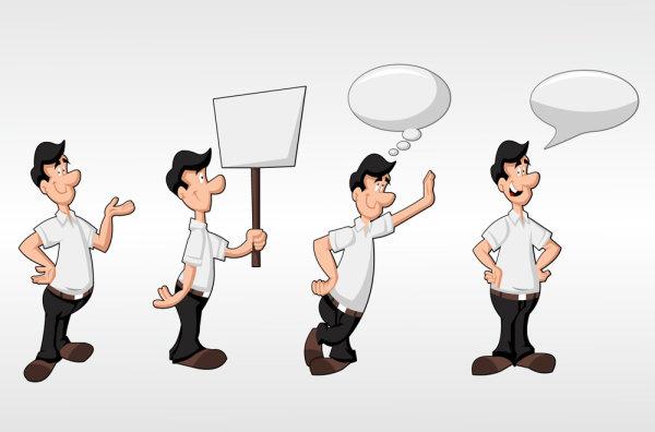 可爱,卡通,插画,矢量图,人物,白领,牌子,对话框,设计素材,eps格式