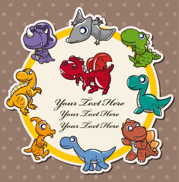 动物,插画,可爱,背景,花纹,矢量图,恐龙,翼龙,标签,标贴,设计素材,eps