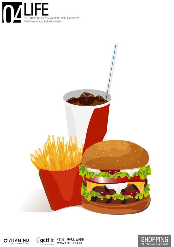 快餐,薯条,汉堡,巨无霸,饮料,矢量图,设计素材,eps格式