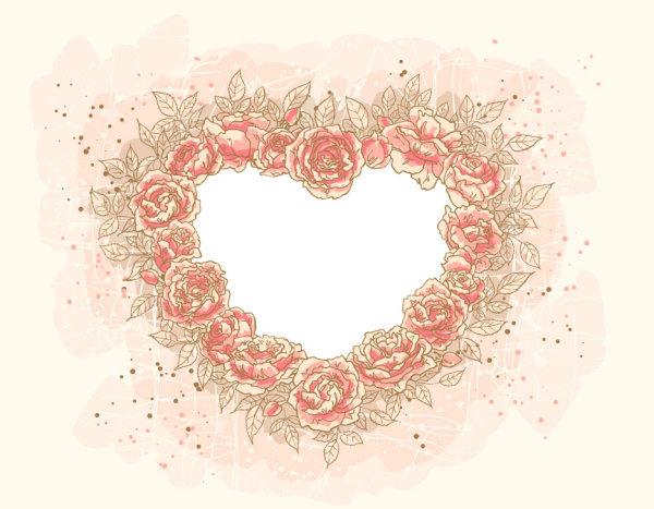 心型,心,边框,花朵,鲜花,浪漫,花边,矢量图,设计素材,eps格式