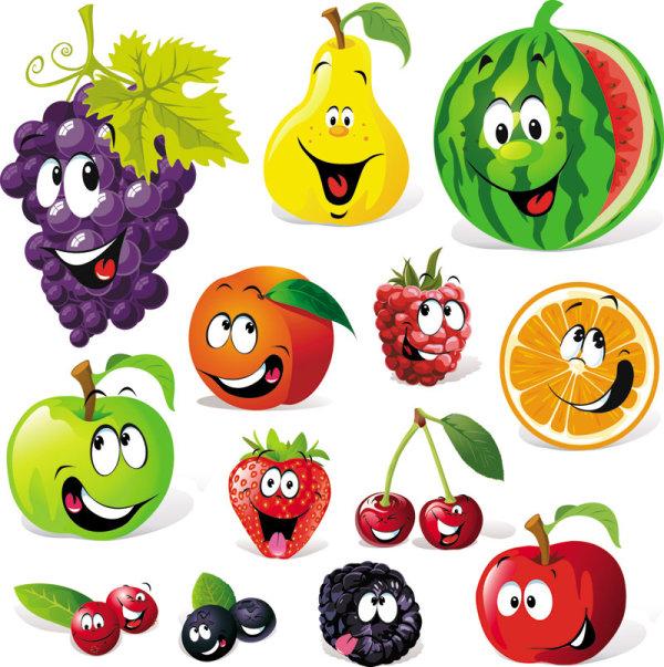 表情,葡萄,梨,水果,西瓜,苹果,桔子,草莓,樱桃,橙子,矢量图,设计素材图片