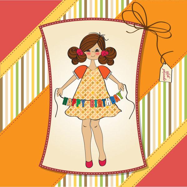 可爱,儿童画,插画,儿童,女孩,,背景,矢量图,设计素材,eps格式