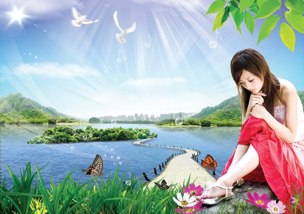 绿野仙踪美女风景psd,湖心岛,白鸽,树叶,桥,山水,阳光,鲜花,蝴蝶图片