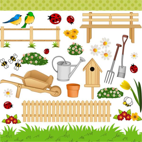卡通,园林,艺术,花朵,铲子,水壶,花盆,蜜蜂,七星瓢虫,鸟,绿地,鸟,矢量图片