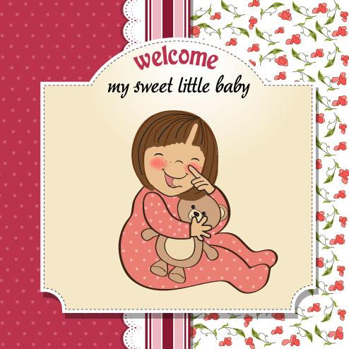 卡通,可爱,插画,女孩,女婴,婴儿,玩具,小熊,娃娃,背景,花边,条纹,线条