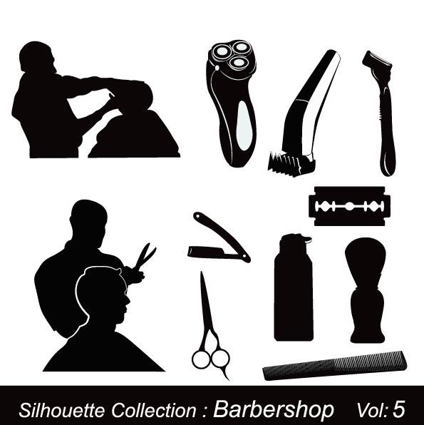 理发店剪影-矢量图-矢量人物与卡通-矢量素材-素彩网
