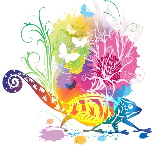 绚丽,炫彩,剪影,背景,海报,插画,手绘,蜥蜴,壁虎,蝴蝶,花朵,花纹,植物