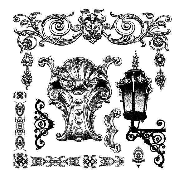 欧式,花纹,雕花,边框,边角,手绘,纹样,线条,花样,图样,灯,矢量图,设计