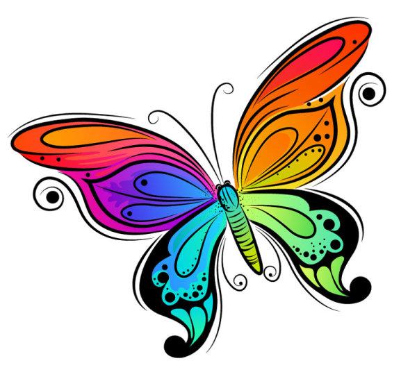 炫彩,绚丽,手绘,插画,卡通,蝴蝶,动物,线条,矢量图,设计素材,eps格式