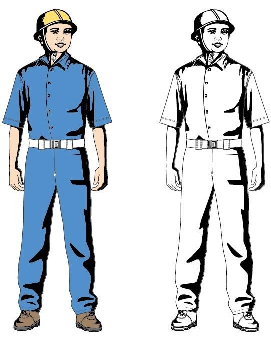 工人标准着装矢量图-矢量人物与卡通-矢量素材-素彩网