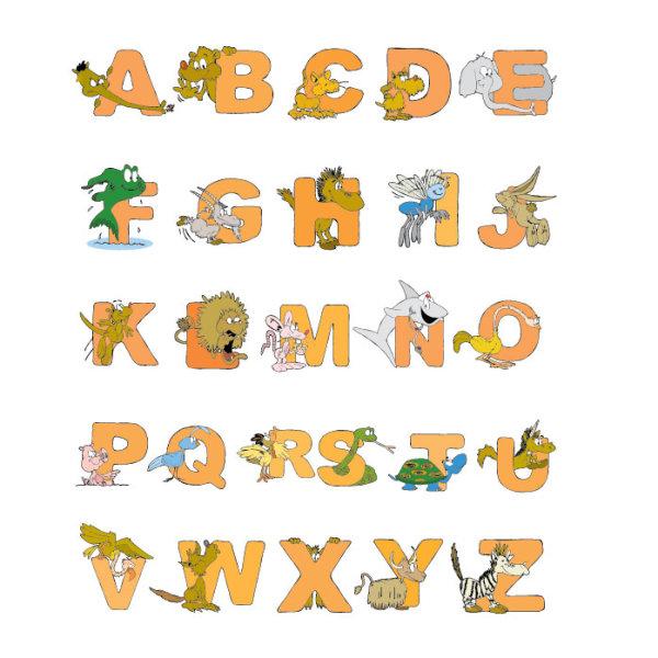 卡通,动物,字母,英文,设计,大象,狮子,老鼠,斑马,乌龟,鱼,兔子,蛇