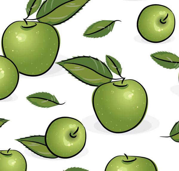 青苹果,水果,叶子,平铺背景,矢量图,设计素材,eps格式