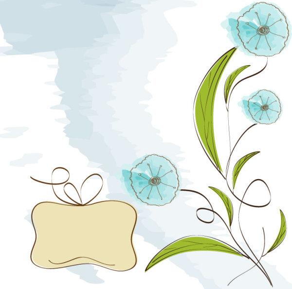 手绘花朵背景矢量图4