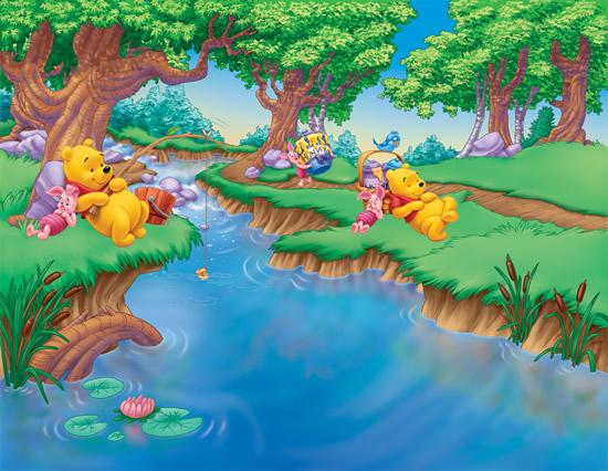 卡通场景,卡通森林,河流,树木,维尼熊钓鱼,维尼熊图片素材,免费卡通