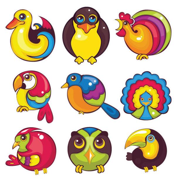 卡通,创意,可爱,动物,精美,图标,鸭子,猫头鹰,公鸡,鹦鹉,孔雀,小鸟