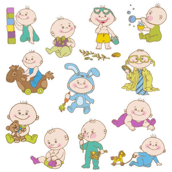 可爱,卡通,手绘,插画,男婴,男孩,婴儿,小孩,baby,形象,玩具,积木