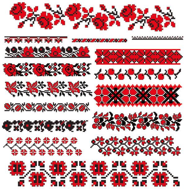 十字绣花纹图案矢量图7