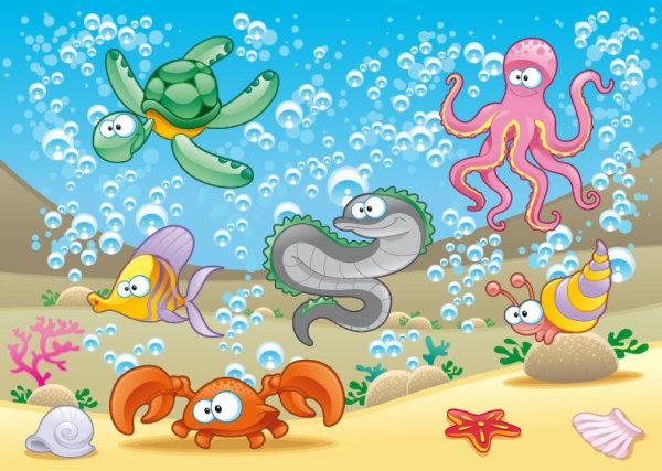 卡通海洋动物矢量图4-矢量人物与卡通-矢量素材-素彩