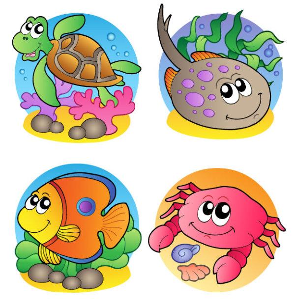 卡通,可爱,创意,海洋,动物,生物,海龟,珊瑚,石子,水草,鱼,螃蟹,贝壳