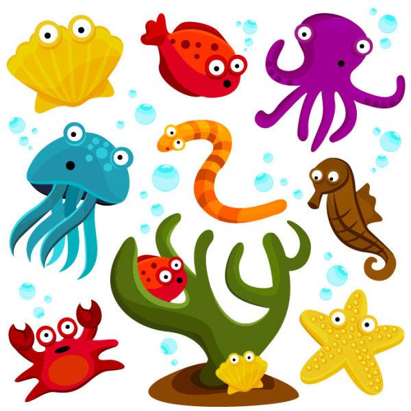 卡通,可爱,创意,海洋,动物,生物,贝壳,鱼,章鱼,乌贼,蛇,海马,螃蟹,海