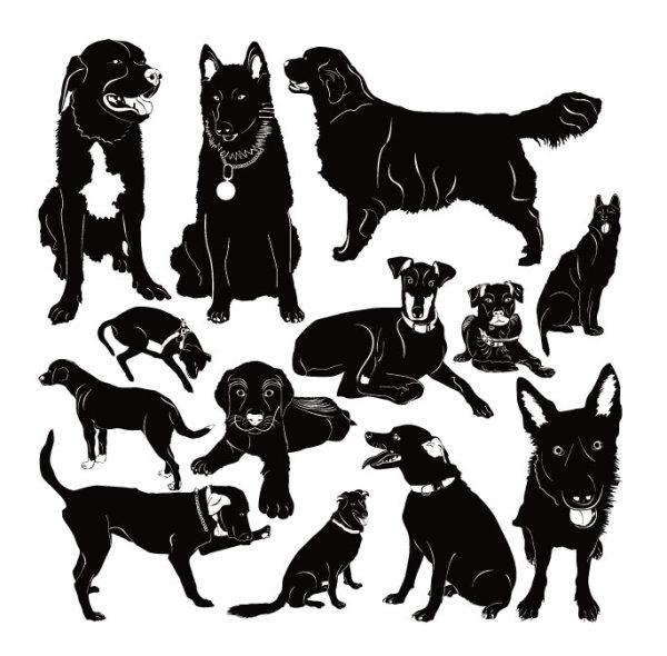 宠物,狗,可爱,剪影,线条,矢量图,设计素材,eps格式