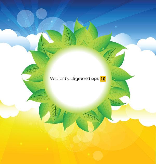 树叶,夏天,阳光,云朵,光斑,夏日,背景,光芒,矢量图,设计素材,eps格式