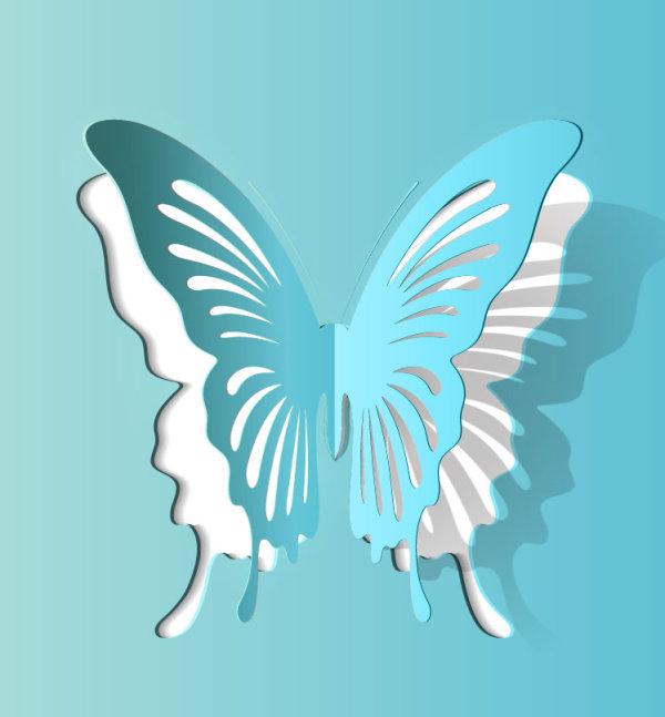 精美,美丽,蝴蝶,剪纸,折痕,纸质,矢量图,设计素材,eps格式