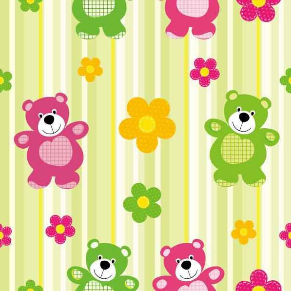 可爱,卡通,背景,图案,手绘,小熊,花朵,线条,矢量图,设计素材,eps格式
