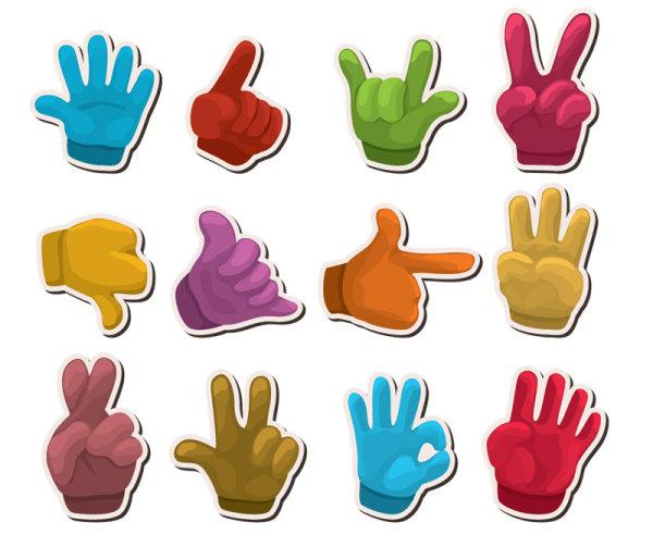 手型,标贴,贴纸,手指,手掌,手势,矢量图,设计素材,eps格式